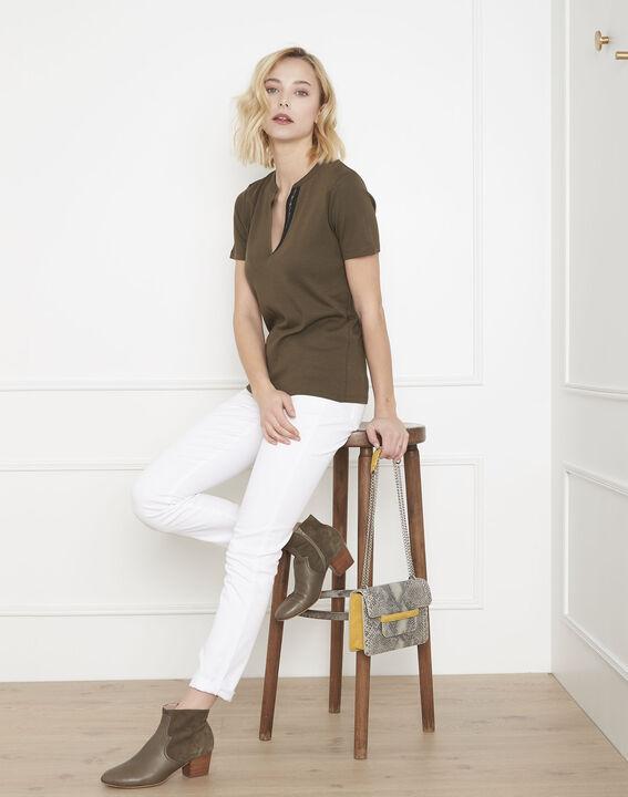 Tee-shirt kaki biais lurex Priscille (2) - Maison 123