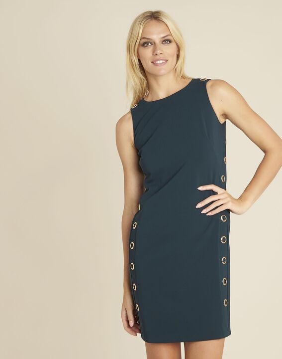 Gerade geschnittenes dunkelgrünes Kleid mit Ösendetails Dora PhotoZ | 1-2-3