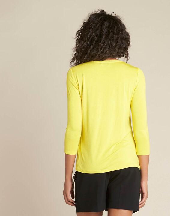 Tee-shirt anis bimatière col résille Bianca (4) - 1-2-3