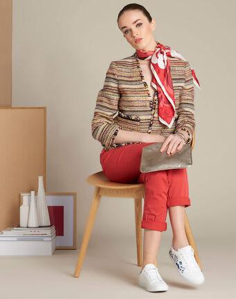 Veste courte et poches plaquées citrouille carmin.