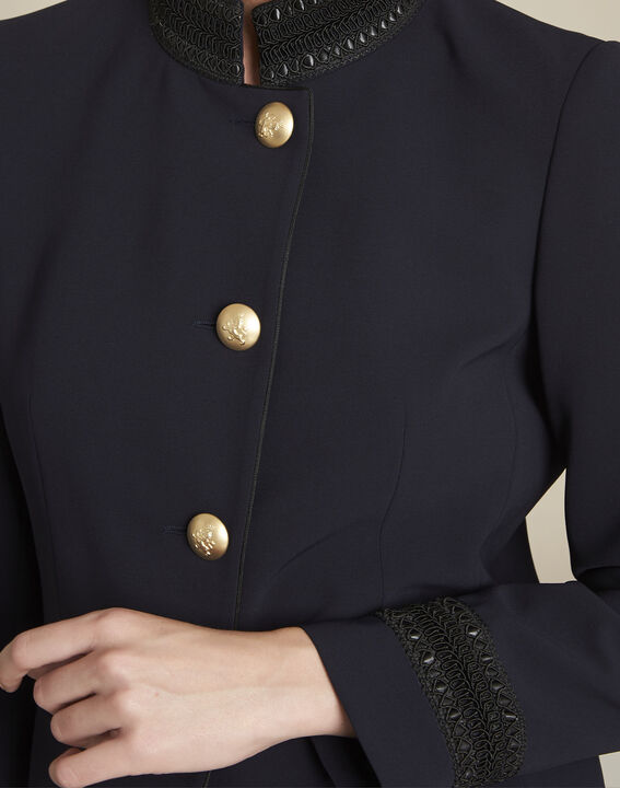 Shelby navy officer-style jacket with collar detailing (3) - 1-2-3