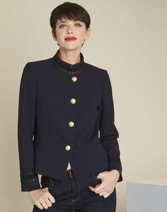 Shelby navy officer-style jacket with collar detailing blue.