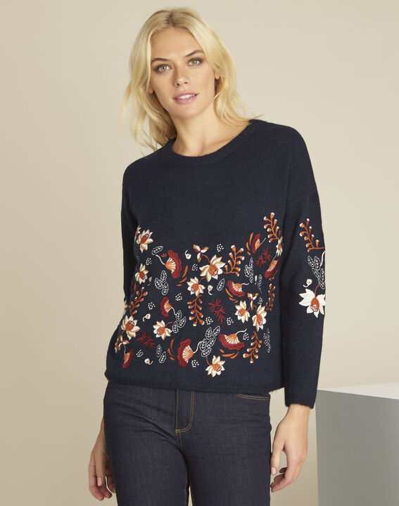 Bogota navy embroidered pullover (1) - Maison 123