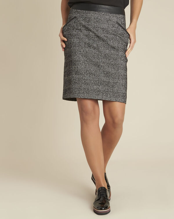 Anais jacquard skirt with faux leather panel (1) - 1-2-3