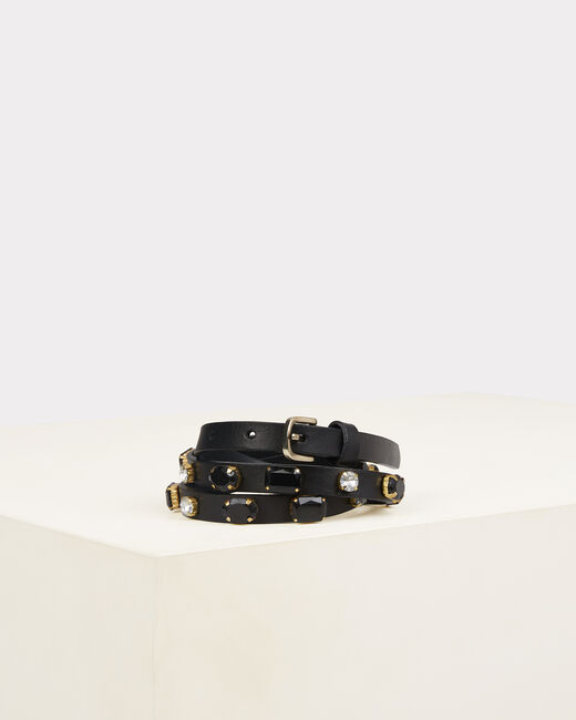 Orya black leather belt with jewelled detailing (2) - 1-2-3