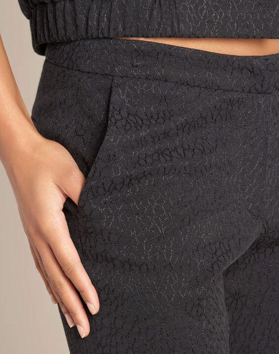 Pantalon cigarette jacquard noir Suzanne (1) - 1-2-3
