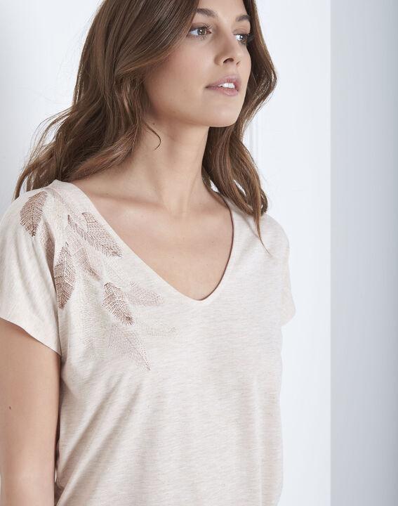 Beigefarbenes T-Shirt mit Feder-Stickerei Pandore (3) - Maison 123