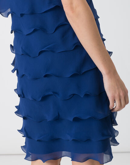Blaues Volant-Kleid aus Seide Flower (5) - 1-2-3