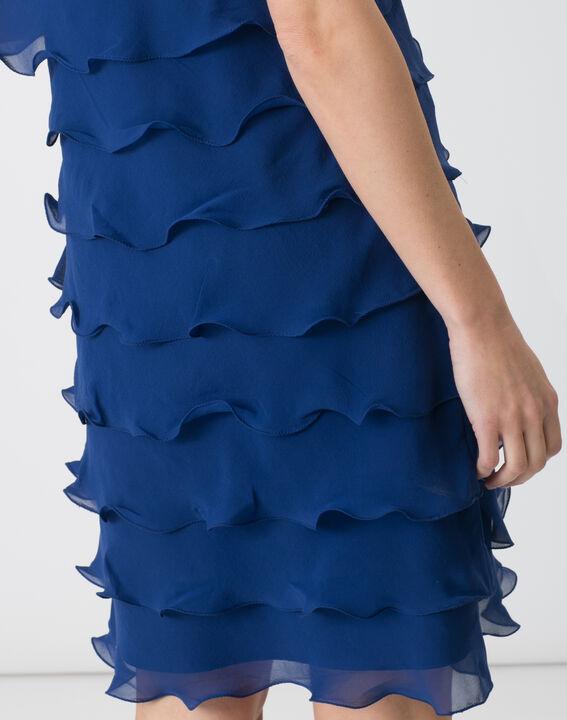 Robe bleue volantée en soie Flower (5) - 1-2-3