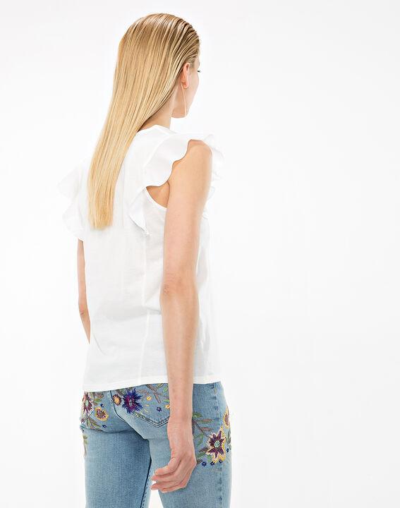 Tee-shirt écru manches volantées Nathalie (4) - 1-2-3
