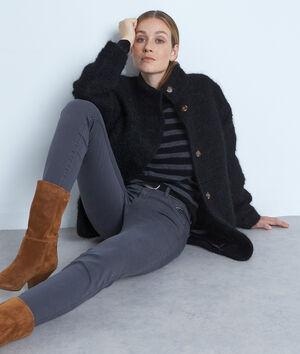 Manteau court en laine texturée noire Lamia