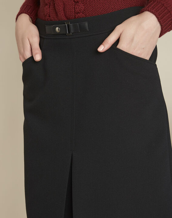 Angel black compact skirt with buckle detail (3) - 1-2-3