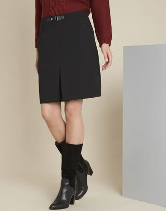 Angel black compact skirt with buckle detail black.