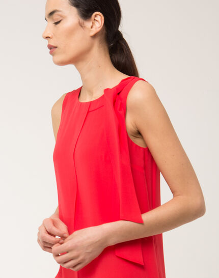 Fanny orange dress in silk with bow on the shoulder (5) - 1-2-3