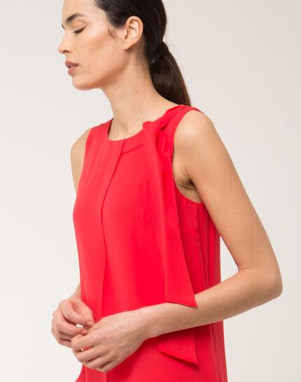 Orangerotes Seitenkleid mit Schleife an der Schulter Fanny (5) - 1-2-3