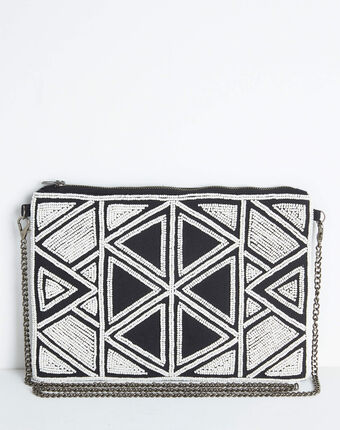 Daphne embroidered and beaded shoulder bag with chain and geometric design black/white.