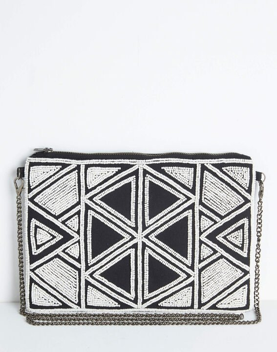 Daphne embroidered and beaded shoulder bag with chain and geometric design PhotoZ | 1-2-3