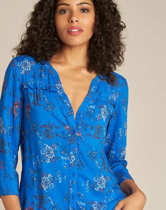 Koningsblauw overhemd met Perzische bloemenprint Galyn PhotoZ | 1-2-3