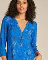 Königsblaue Hemdbluse mit persischem Blumenprint Galyn (1) - 1-2-3