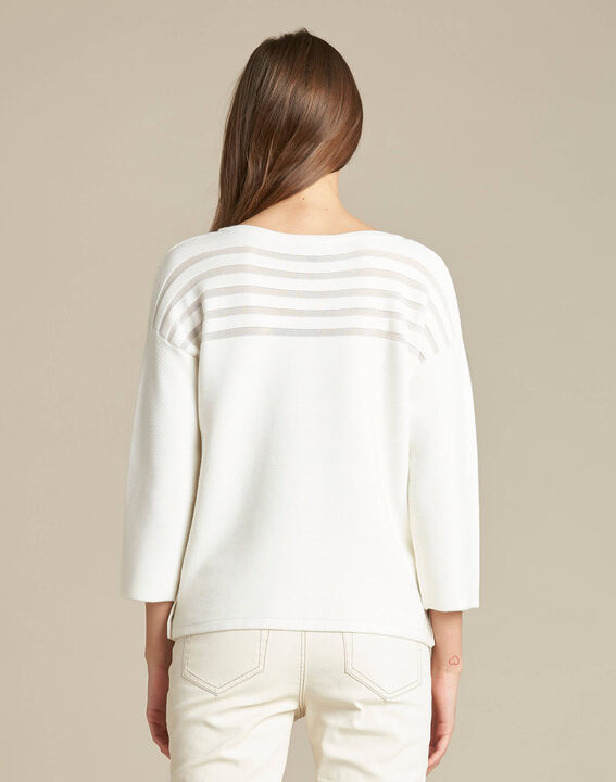 Hypnose ecru sweater with sheer stripes (4) - 1-2-3