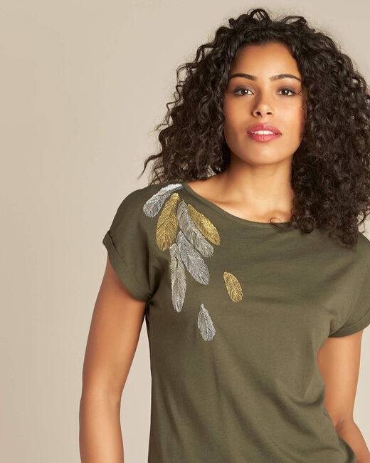 Epine khaki T-shirt with feather embroidery (1) - 1-2-3