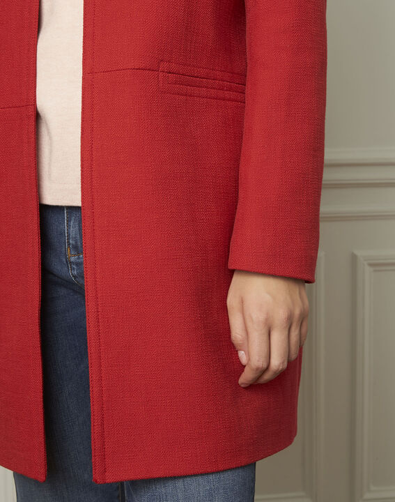Manteau rouge en coton mélangé Daya (4) - Maison 123