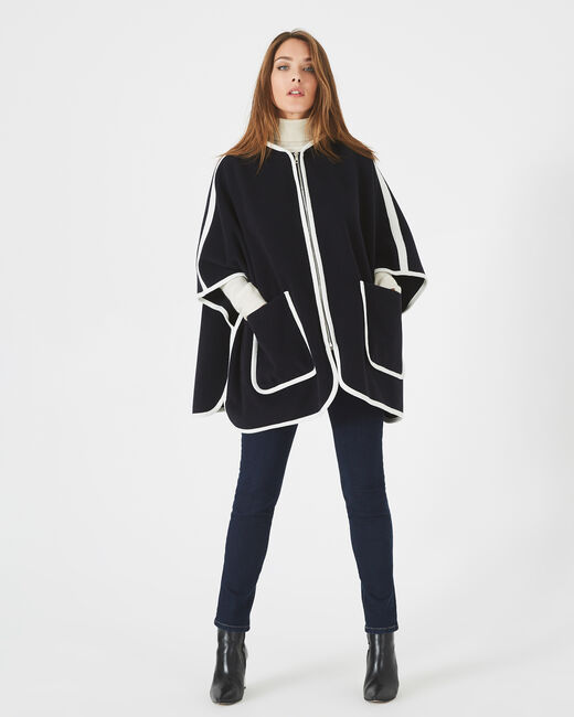 Jenny navy blue wool mix cape with hood (1) - 1-2-3