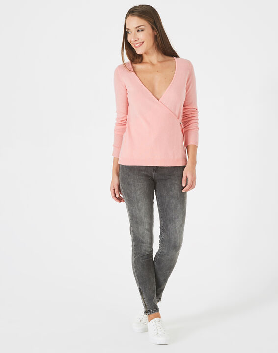 Poésie pink wrap-over wool-blend sweater  PhotoZ | 1-2-3