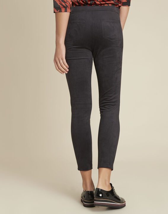 Hens black suedette effect leggings (4) - 1-2-3