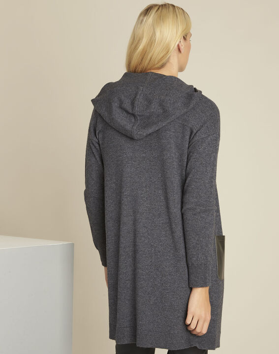 Banquise grey hooded wool cashmere cardigan (4) - 1-2-3