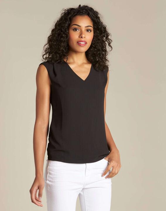 T-shirt noir col V Neptune (3) - 1-2-3