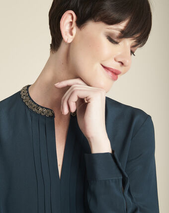 Celeste dark green silk blouse with jeweled collar forest green.