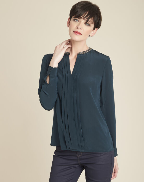 Celeste dark green silk blouse with jeweled collar (2) - 1-2-3