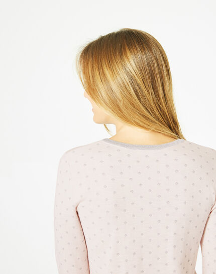 Prisme pale pink sweater with silver polka dot detailing and a rounded neckline (4) - 1-2-3