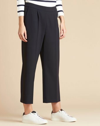 Vada wide-cut navy blue trousers with crease navy.