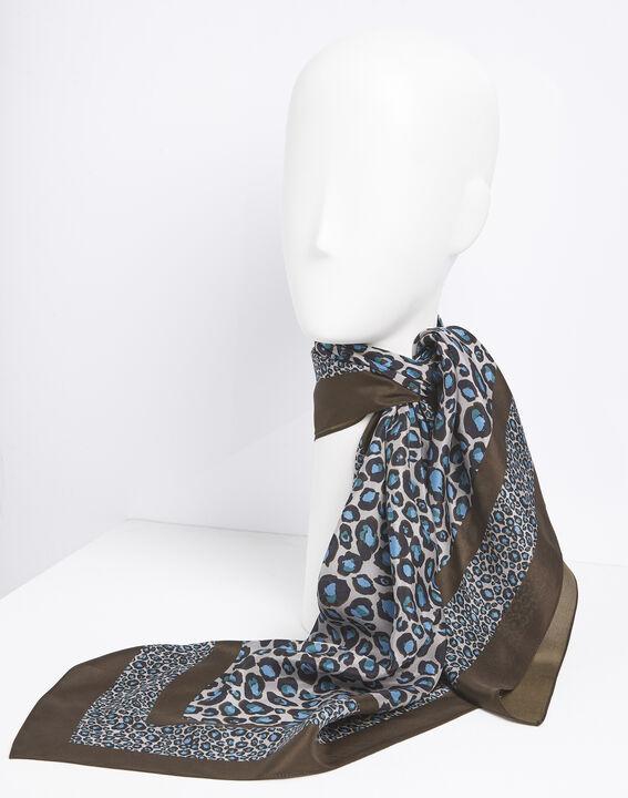 Felin blue leopard print silk square PhotoZ | 1-2-3