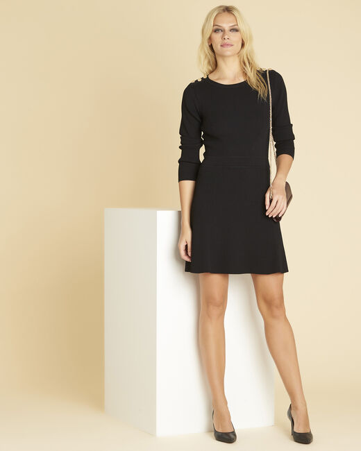 Drys black knitted dress with buttons on the shoulders (1) - 1-2-3