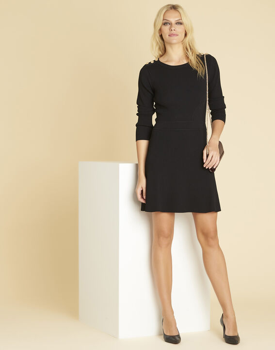 Drys black knitted dress with buttons on the shoulders (2) - 1-2-3
