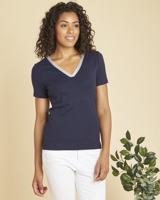 Etincelant navy T-shirt with fancy neckline (2) - 1-2-3