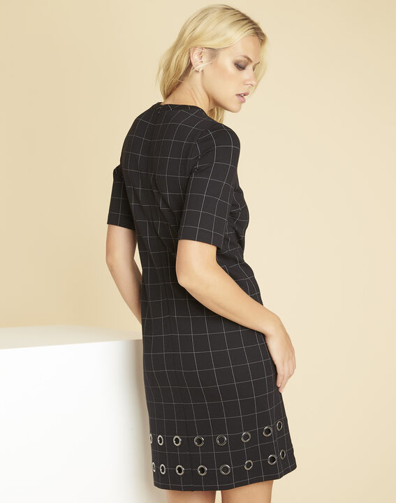 Davina black check dress with eyelets (4) - 1-2-3