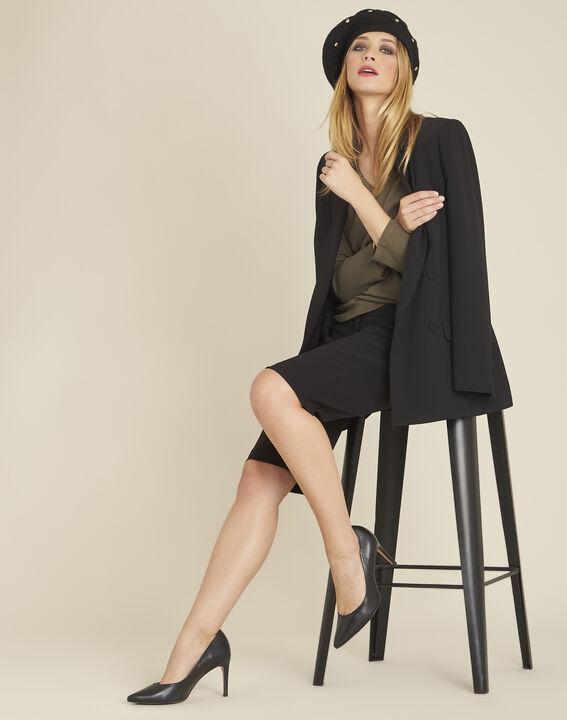 Veste tailleur noire longue à double boutonnage Shana (2) - Maison 123