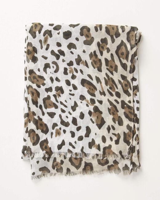 Foulard kaki imprimé léopard Anis (1) - 1-2-3