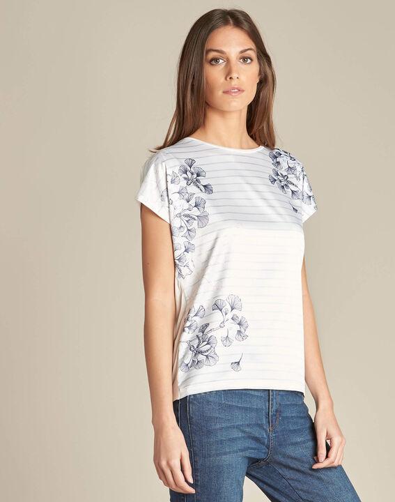 Tee-shirt rayé imprimé ginkgo Erbier (3) - 1-2-3