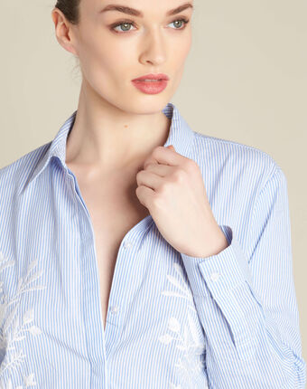 Grant embroidered striped blouse in navy navy.