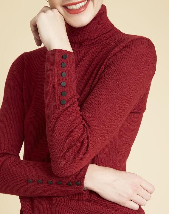 Pull rouge col roulé en laine mélangée Basile (3) - 1-2-3