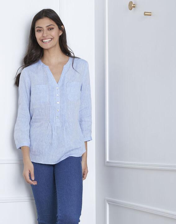 Hemelsblauwe linnen blouse Roma (1) - Maison 123