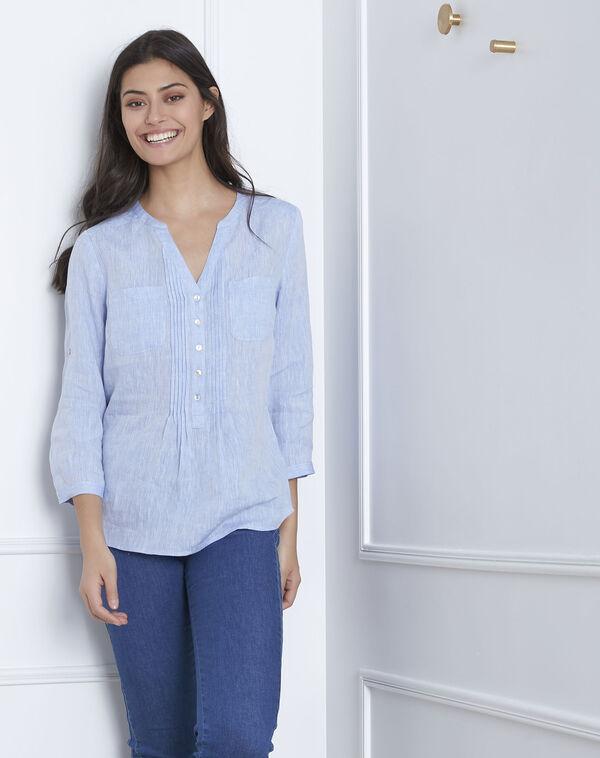 Roma sky blue linen blouse (1) - Maison 123 983dadd82