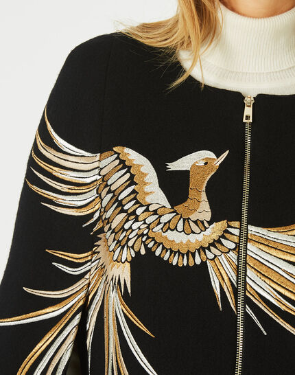 Joenix black, zipped wool cape with embroidered phoenix (3) - 1-2-3