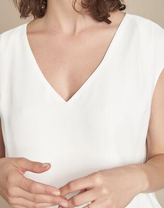 Ecru blouse met v-hals neptune ecru.
