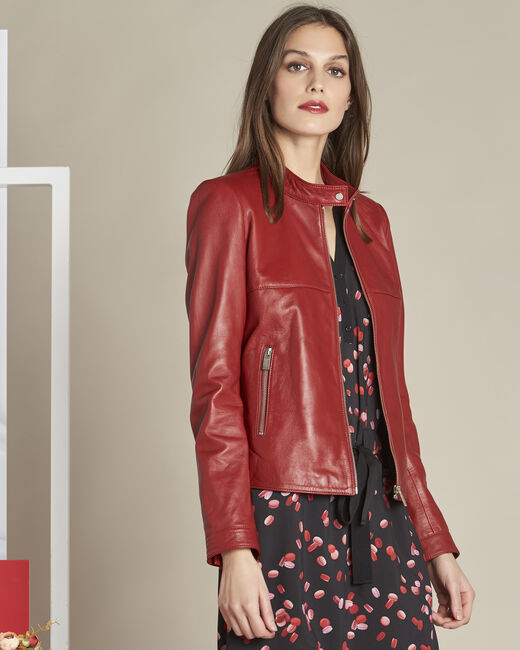 Veste rouge courte en cuir Tibo (2) - 1-2-3